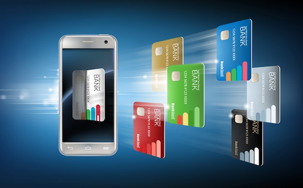 Vector illustration in a realistic style the concept of mobile payments using the application on your smartphone. Free Vector