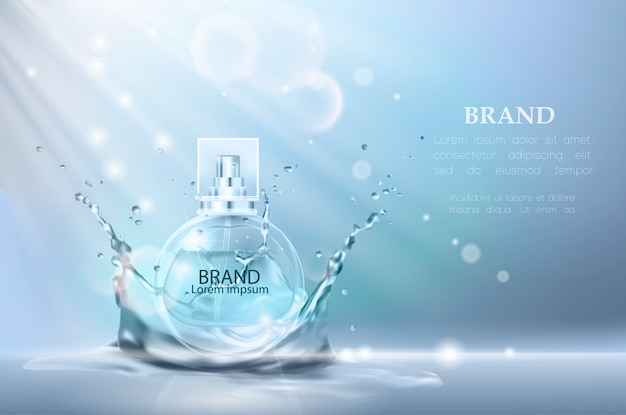 Vector illustration of a realistic style perfume. Premium Vector