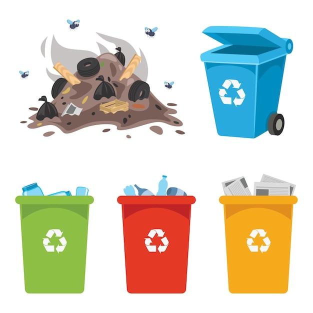 Vector illustration of recycling bin Premium Vector