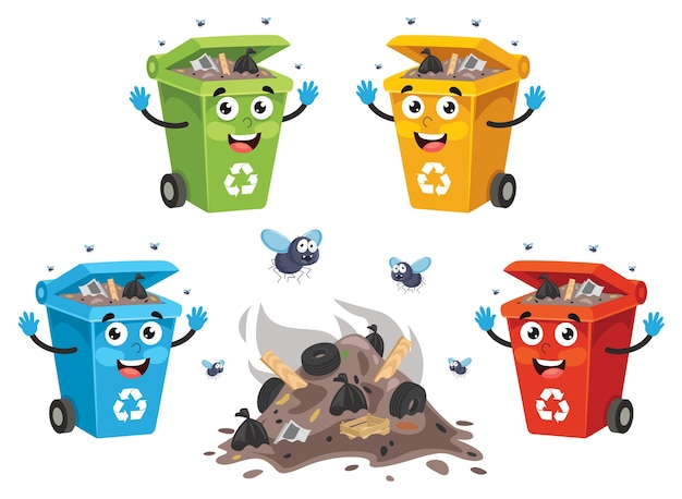 Vector illustration of recycling bin Premium Vector