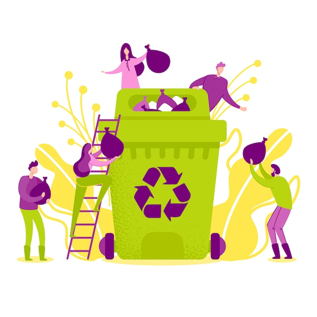 Vector illustration recycling in nature flat. Premium Vector