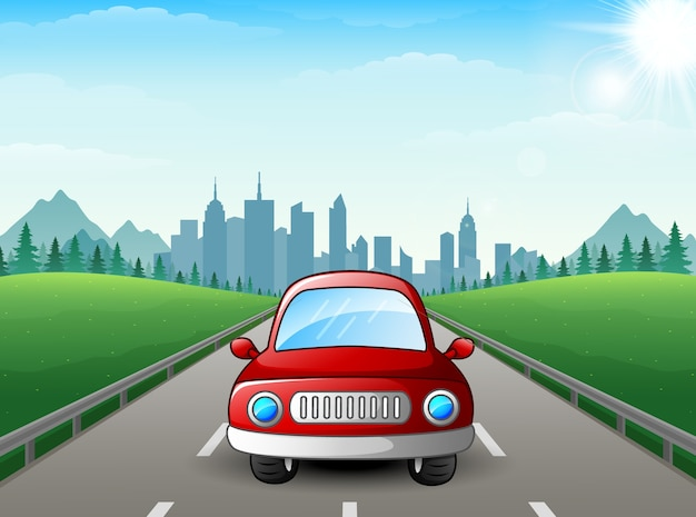 Vector illustration of red car cartoon on city background Premium Vector
