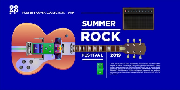 Vector illustration rock music and guitar festival Premium Vector