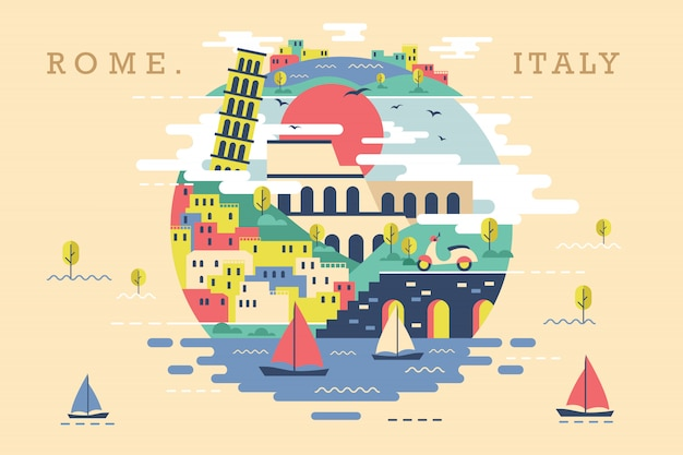 Vector illustration of rome italy Premium Vector