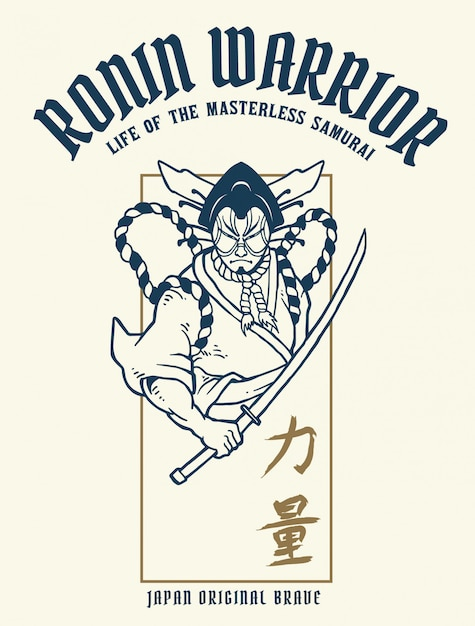 Vector illustration of ronin samurai warrior with japanese word means strength Premium Vector