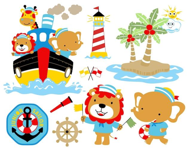 Vector illustration of sailing theme set cartoon. Premium Vector