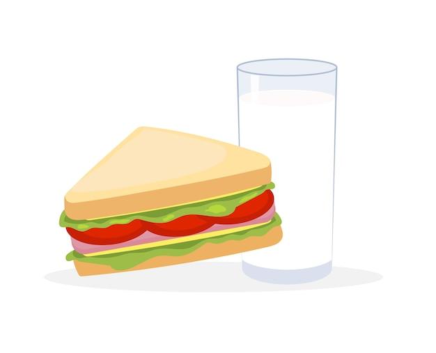 Векторные иллюстрации бутерброды и молоко Premium векторы