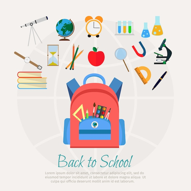 Vector illustration of school bag with education objects background Premium Vector