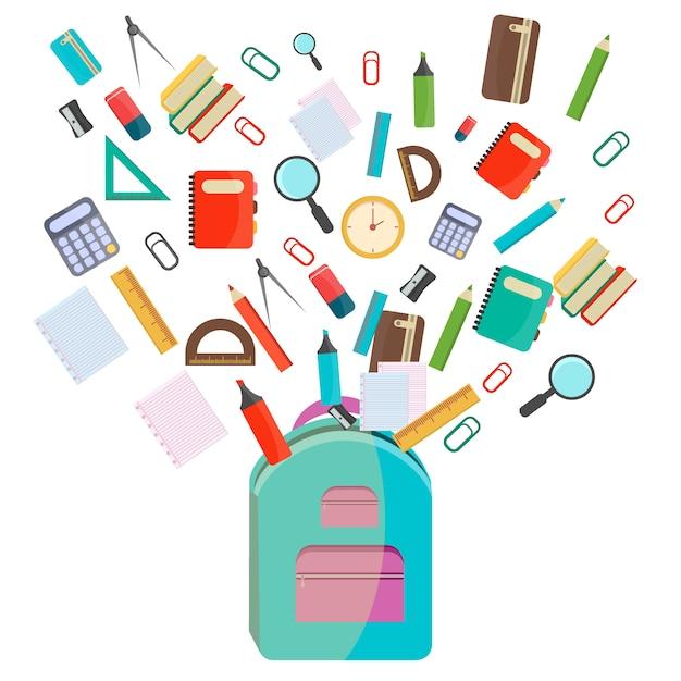 Vector illustration school supplies. Premium Vector