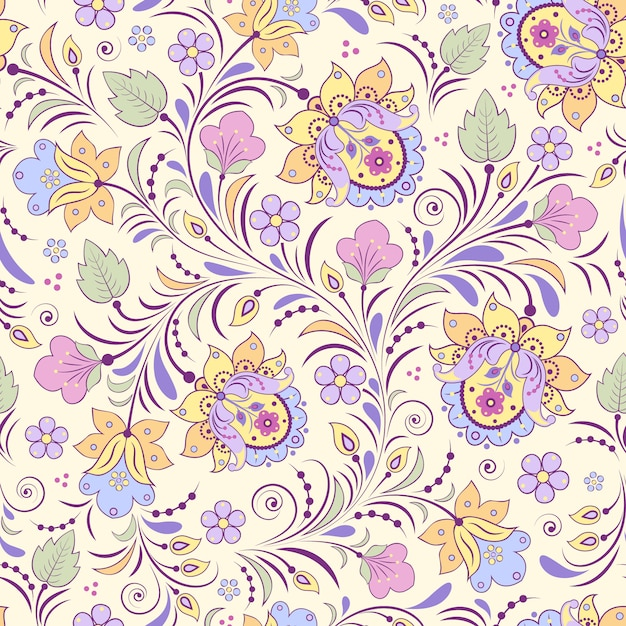 Vector illustration of seamless pattern with abstract flowers. Premium Vector