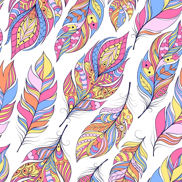 Vector illustration of seamless pattern with colorful abstract feathers Premium Vector