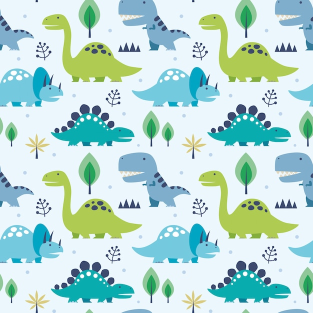 Vector illustration seamless pattern with dinosaurs Premium Vector