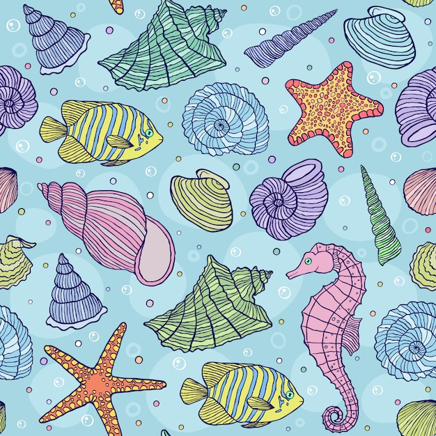Vector illustration of seamless pattern with ocean shells Premium Vector