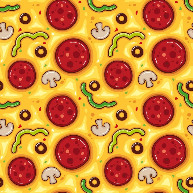 Vector illustration seamless pattern with pizza Premium Vector