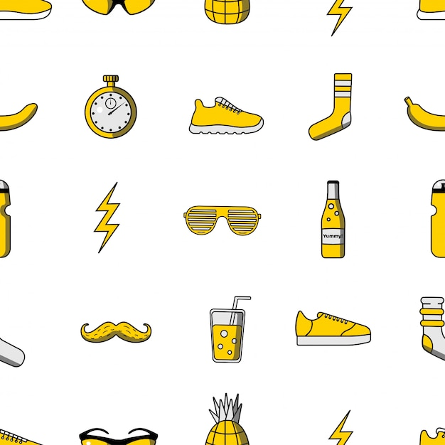 Vector illustration seamless pattern with sport icons Premium Vector