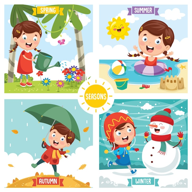 Vector illustration of seasons Premium Vector