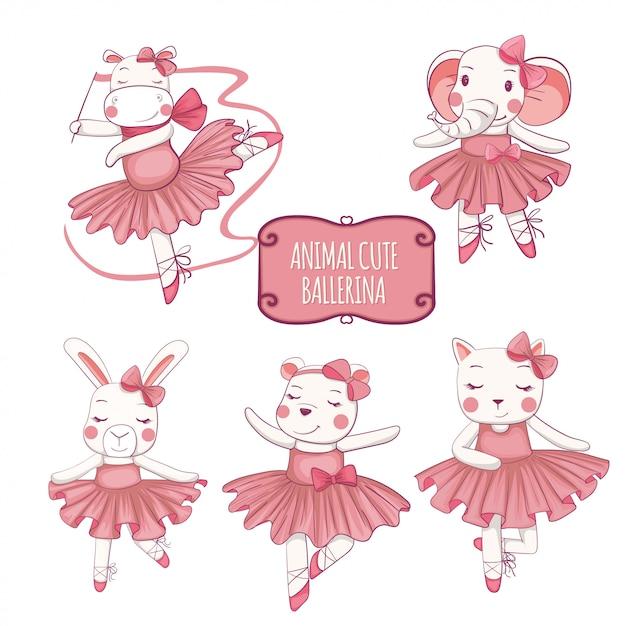 A vector illustration set of ballet dancers, elephants, cats, hippos, rabbits and cute bears. Premium Vector