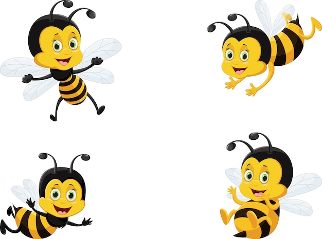 Vector illustration set of cute cartoon bee Premium Vector