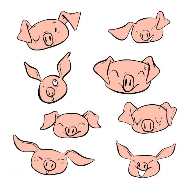 Vector illustration set design different emotion face of pig. Premium Vector
