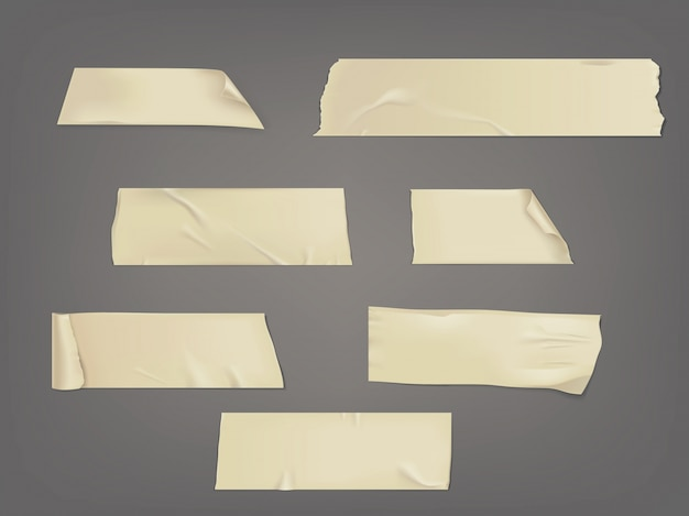 Vector illustration set of different slices of a adhesive tape with shadow and wrinkles Free Vector