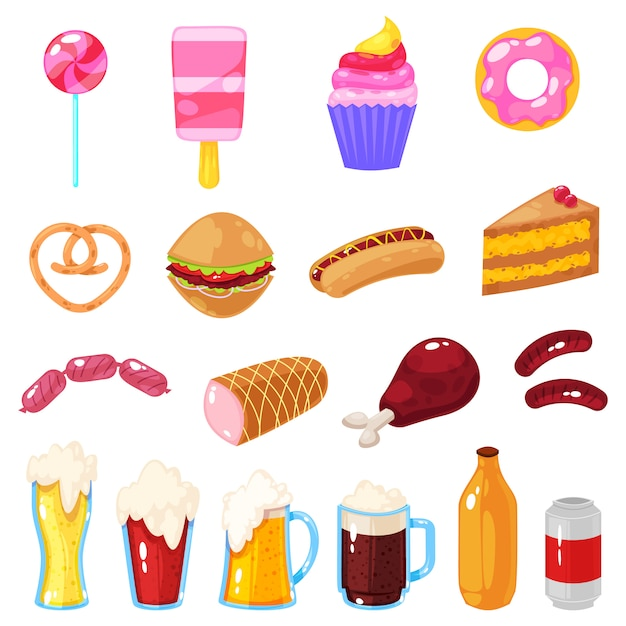Vector illustration of set of fast food on white. Premium Vector