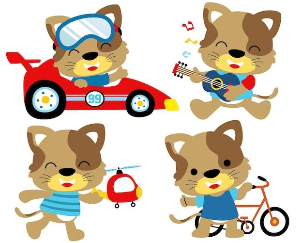 Vector illustration set of funny cat activity Premium Vector