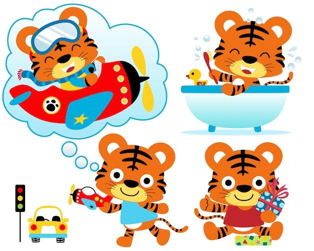 Vector illustration set of little tiger cartoon Premium Vector