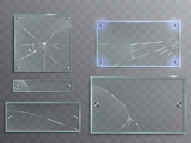 Vector illustration set of transparent glass plates with cracks, cracked panels Free Vector