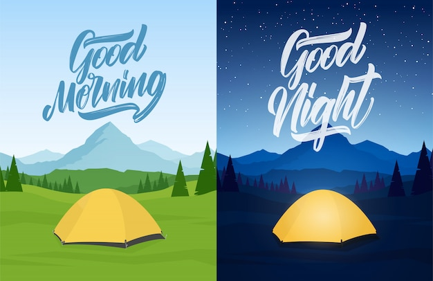 Vector illustration: set of two mountains landscape with tent camp, hand lettring of good morning and good night. Premium Vector