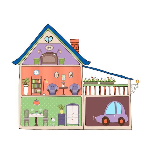 Illustrazione vettoriale che mostra una sezione trasversale di una casa familiare Vettore gratuito