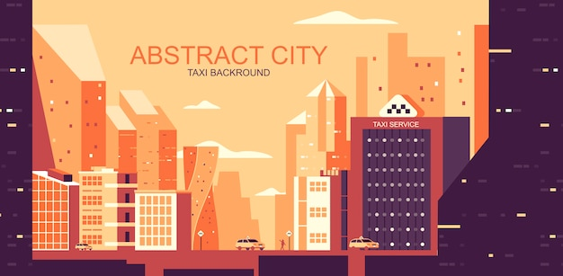 Vector illustration in simple flat style - urban landscape with yellow cabs Premium Vector