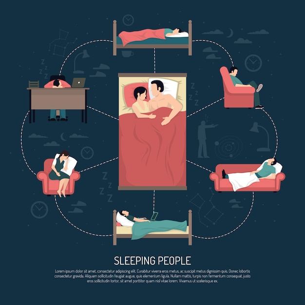 Vector illustration of sleeping people Free Vector