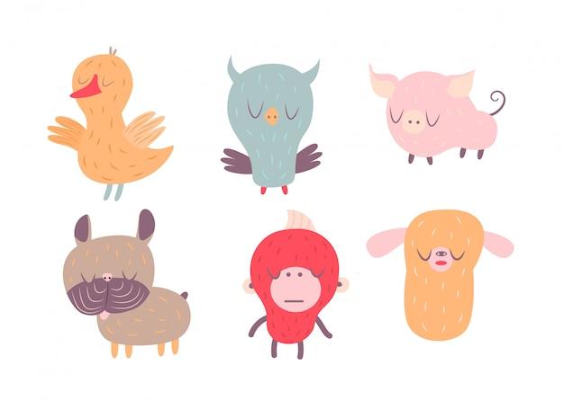 A vector illustration of sleepy animals Premium Vector