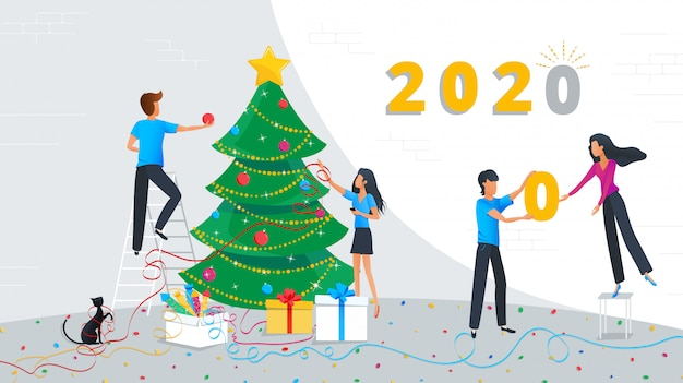 Vector Illustration Of Small Business People Are Decorating Christmas Tree In The Corporate Office At Work Premium Vector