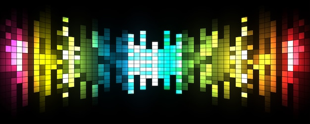 Vector illustration of sound waves abstract glowing party