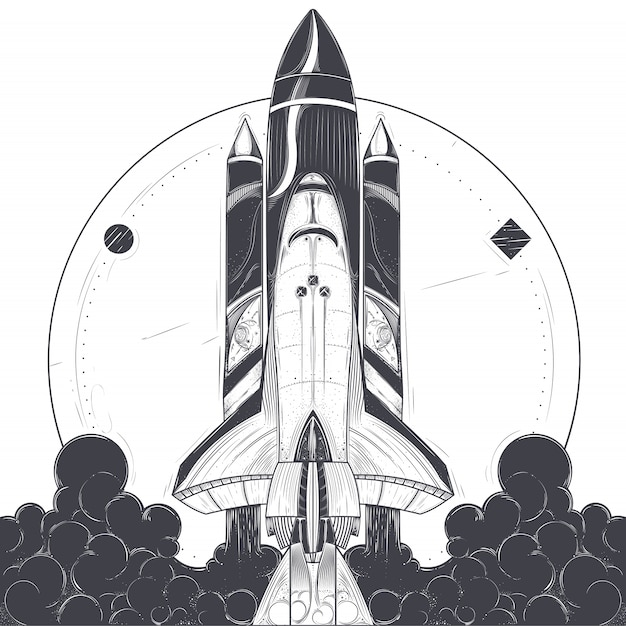 Vector illustration of a space rocket launch. Free Vector