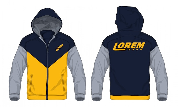 Vector illustration of sport hoodie jacket. Premium Vector