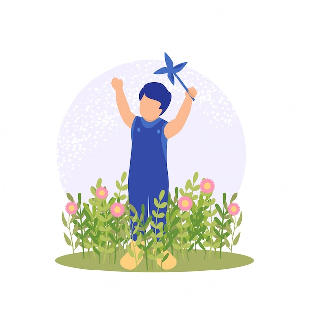 Vector illustration spring cute boy playing flower Premium Vector