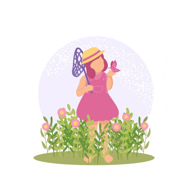 Vector illustration spring cute girl playing butterfly Premium Vector