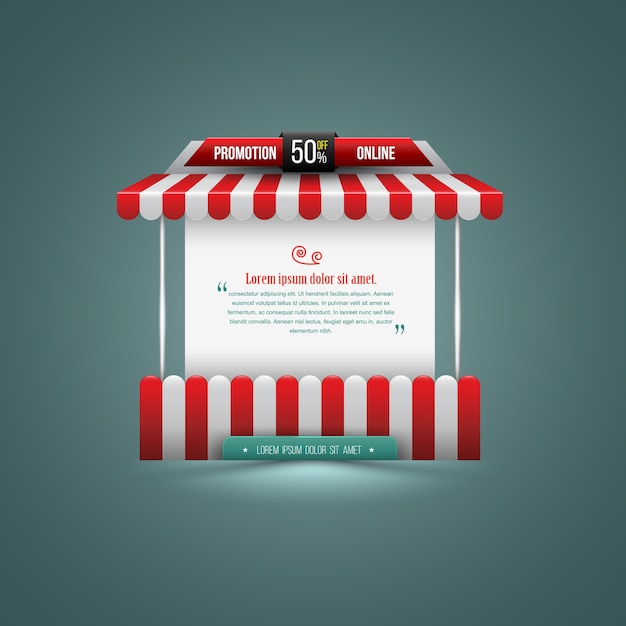 Vector illustration of a stall. can use for promotion sale Premium Vector