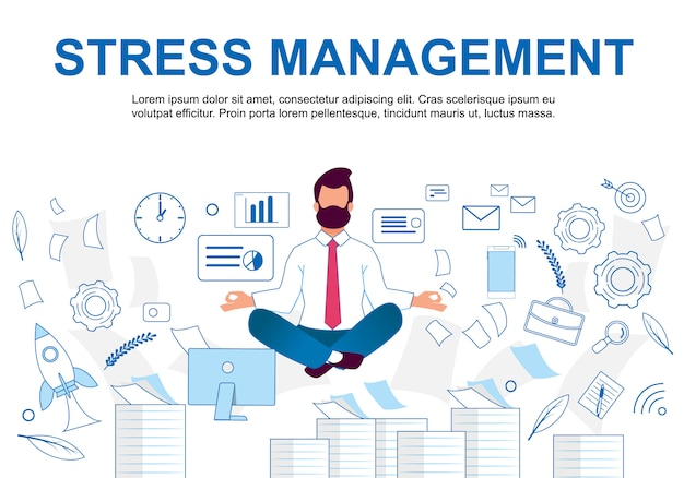 Vector illustration stress management cartoon. Premium Vector