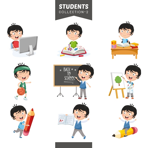 Vector illustration of students collection Premium Vector
