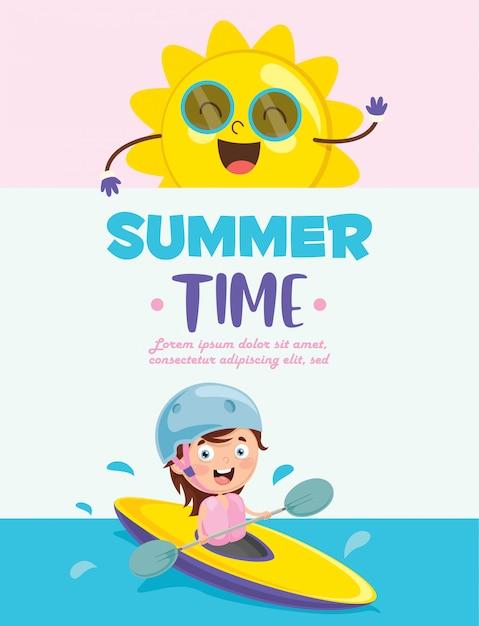 Vector illustration of summer children Premium Vector