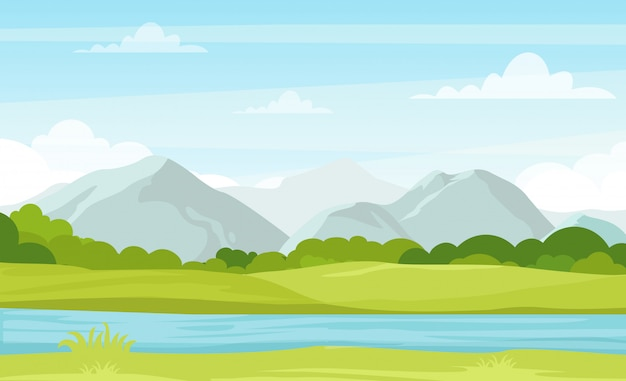Vector illustration of summer landscape with mountains and river. beautiful mountains view in cartoon flat style, good background for your banner design. Premium Vector