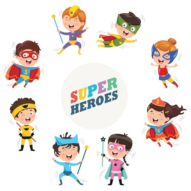 Vector illustration of superheroes Premium Vector