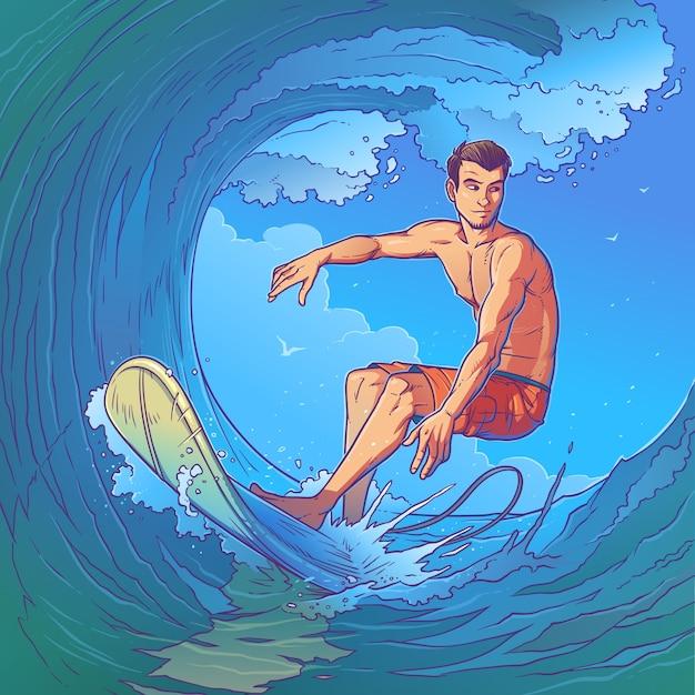 Vector illustration of a surfer Free Vector