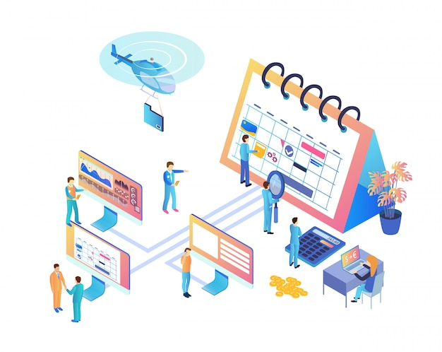 Vector illustration team work on project isometric Premium Vector