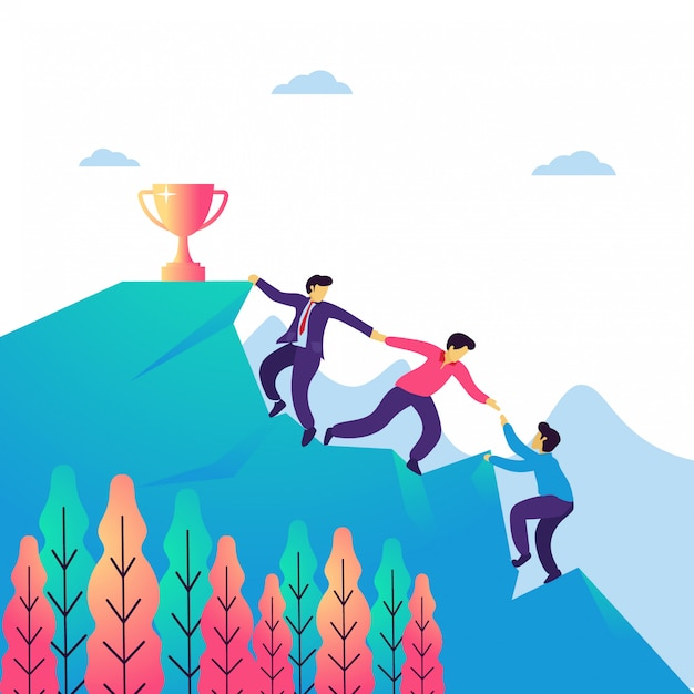Vector illustration of teamwork and leadership. Premium Vector
