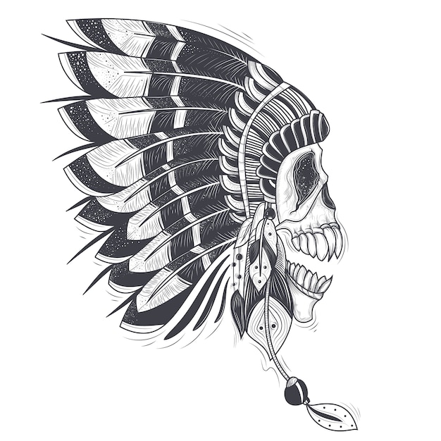 60f97fb7f6e37 Vector illustration of a template for a tattoo with a human skull in an  indian feather