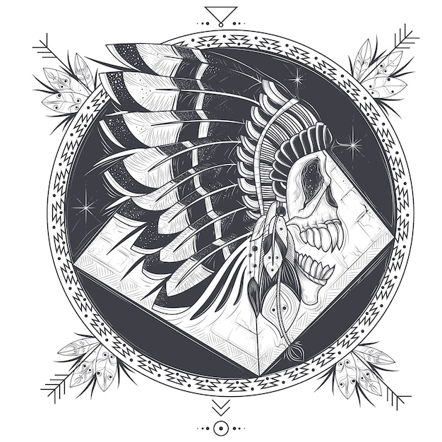 Vector illustration of a template for a tattoo with a human skull in an indian feather hat. Free Vector